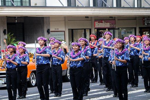 Hawaii, Women, Parade, Instruments, Musical Instruments