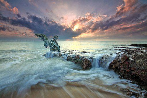 Angel, Statue, Sea, Fantasy, Ocean, Water, Coast