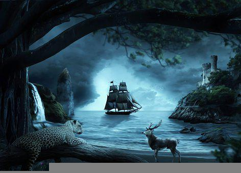 Boat, Castle, Night, Dark, Scary, Jungle, Fantasy