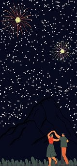 Couple, Night Sky, Wallpaper, Dancing, Stars, Starry