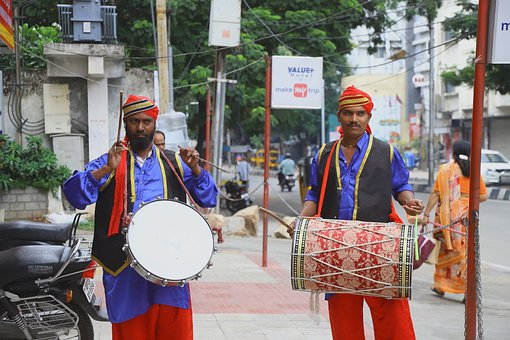 Drummers, Street, Indian, Percussion, Instrument