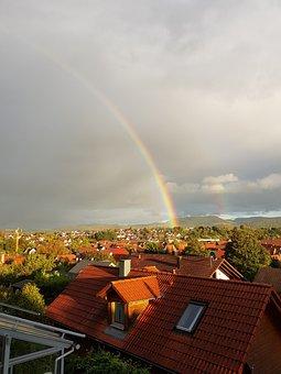 Houses, Rainbow, Village, Sky, Landscape