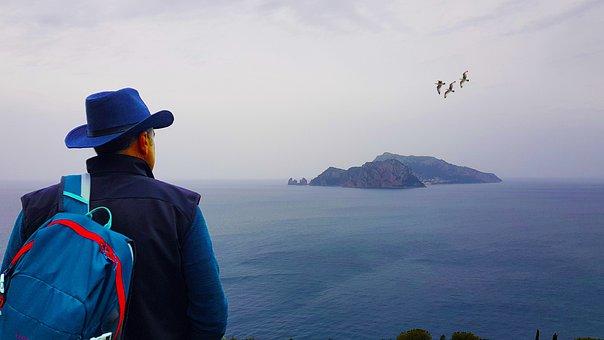 Man, Punta Campanella, Overlooking, Viewpoint, Seascape