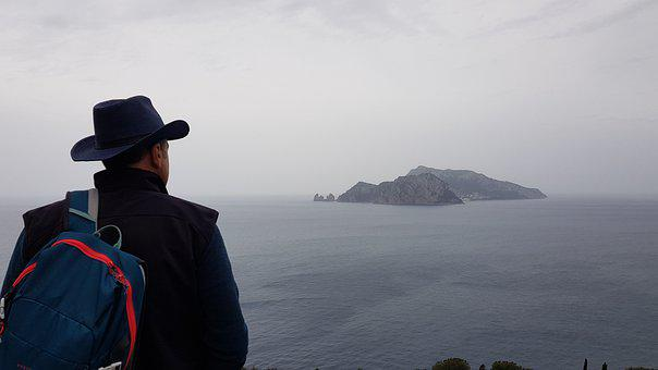 Man, Punta Campanella, Overlooking, Viewpoint