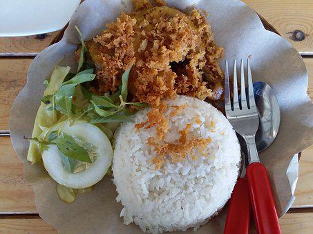 Ayam Goreng, Fried Chicken, Rice, Meal, Lunch, Savory