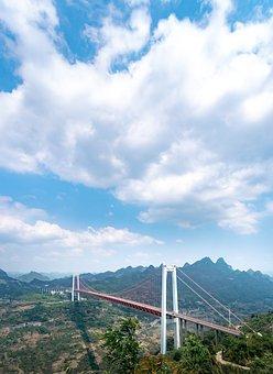 Baling River Bridge, Sky, Clouds, Mountains