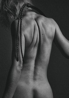 Nude, Body, Monochrome, Naked, Back, Whip, Girl, Woman