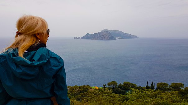 Woman, Punta Campanella, Overlooking, Viewpoint