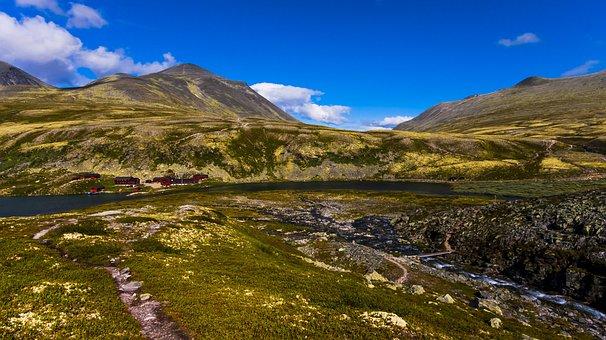 Mountain, The River, Rondvassbu, Panorama, Cabins