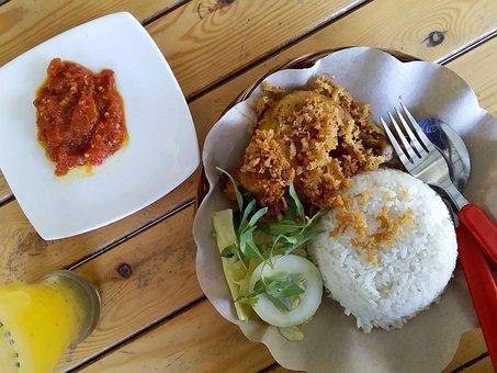 Ayam Goreng, Fried Chicken, Rice, Meal, Lunch, Sambal