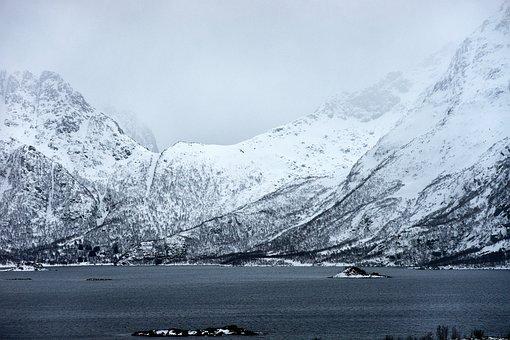 Mountains, Snow, Fjord, Lofoten, Norway, Scandinavia