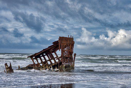 Shipwreck, Sea, Coast, Ocean, Waves, Horizon, Sky