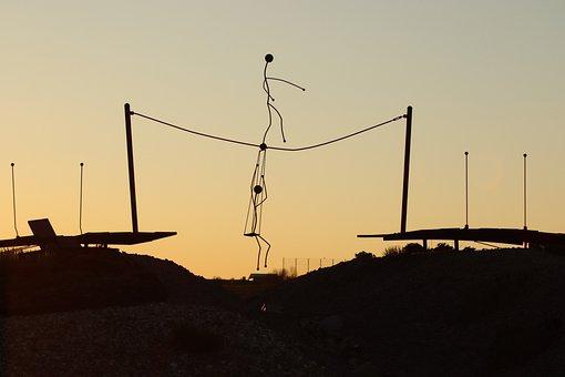 Sunset, Dance, Rope, Silhouette, Trapeze, Art, Movement