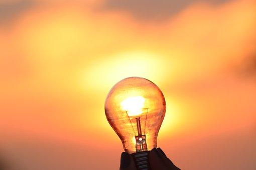 Light Bulb, Lamp, Sunrise, Shining, Sky, Solar, Clouds