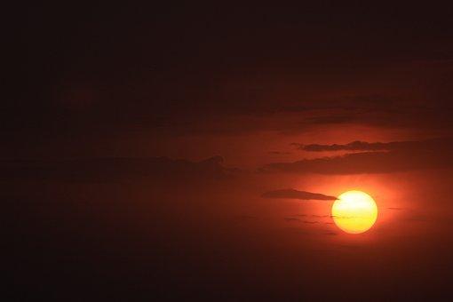 Sunset, Sun, Sky, Clouds, Sunlight, Dusk