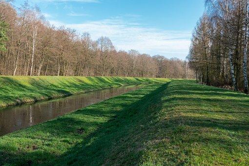 Stream, Trees, Grass, Canal, Waterway, Brook, Woods