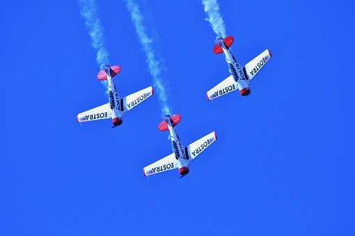 Air Show, Aircraft, Formation, Aerobatic Manoeuvres