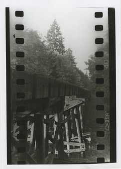 Film, Vintage, Railroad, Tracks, B W, Train, Trestle
