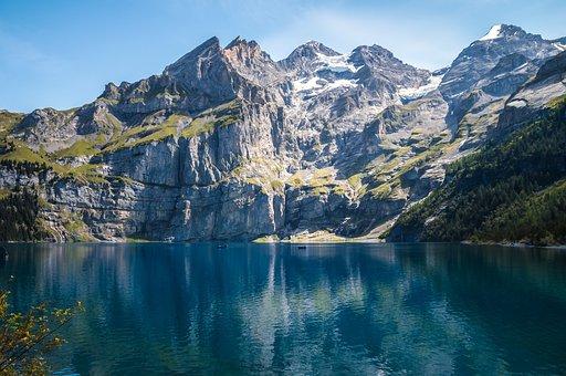 Mountains, Lake, Bergsee, Switzerland, Lake Oeschinen