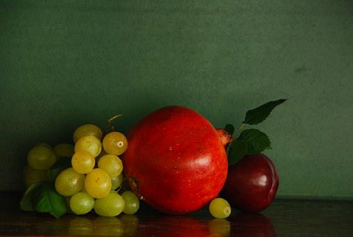 Fruit, Pomegranate, Bunch Of Grapes, Plum, Nutrition