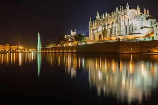 Mallorca, Palma, Cathedral, Church, Water, Mirroring