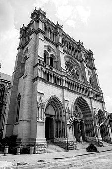 Church, Cathedral, Newport, Kentucky, Ky, Black, White