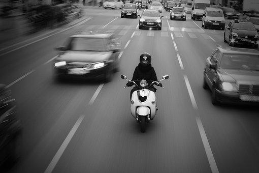 Biking, Barcelona, City, Motorbike, B W, Tourism