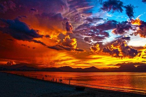 Beach, Lagoon, Sunset, Sundown, Da Nang Bay