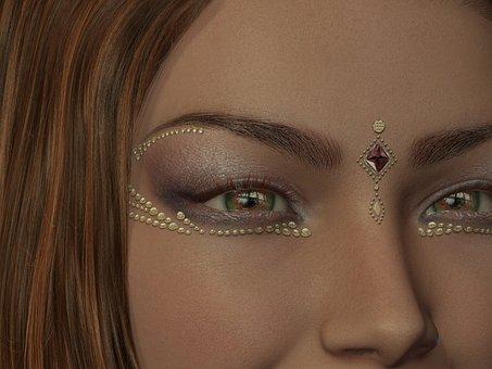 Woman, Make Up, Head, Eye, Beauty, Face Jewelry, Gold