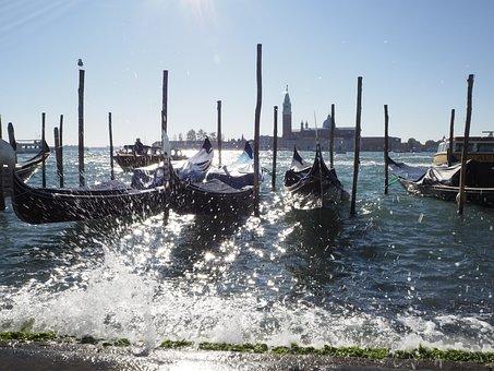 Venice, Gondolas, Italy, Channel, Water, Venezia
