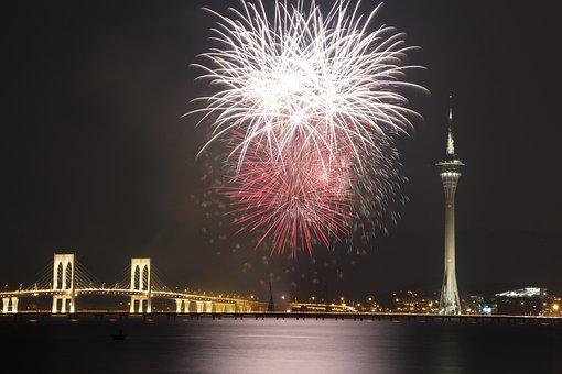 Macau, Fireworks, Landscape