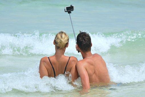 Selfie, People, Man, Woman, Selfiestick, Ocean, Sea