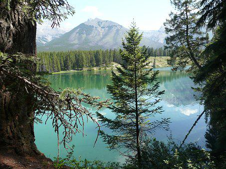 Mountain, Lake, Alberta, Landscape, Mountain Lake