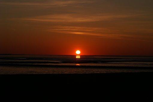Sunset, Wadden Sea, North Sea, Mainland, Holiday