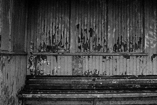 Rundown, Bench, Neglected, Black And White, B W, Old