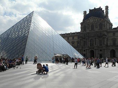 Paryż, Luwr, Piramida W Luwrze, Turyści, Paris, Louvre