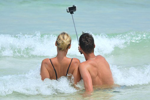 Selfie, People, Man, Woman, Selfiestick, Ocean, Sea