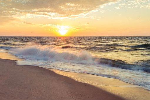 Sky, Sunset, Lift, Sun, Clouds, Beach, Evening, Ocean
