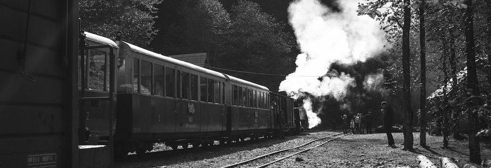 Train, Station, Transportation, Travel, Black And White