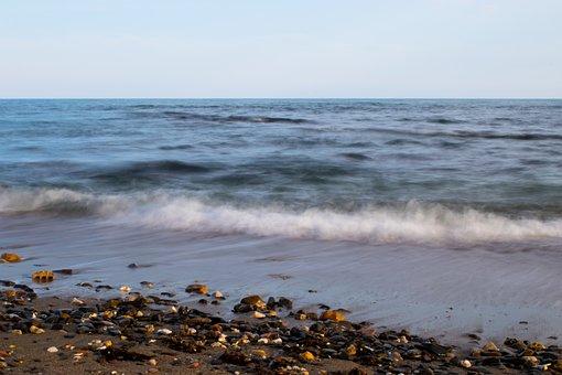 Sea, Beach, Long Exposition, Waves, Sand, Stones