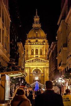 Budapest, Advent, Fair, At Night, Light, Christmas Tree