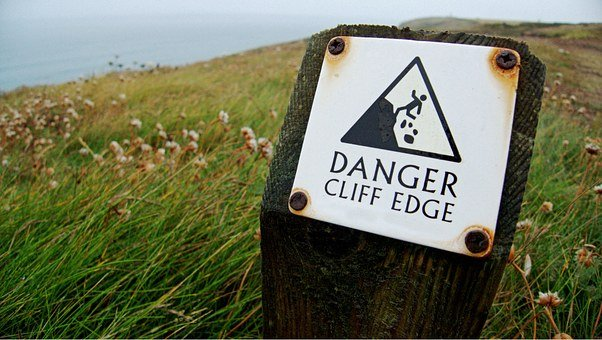 Danger, Cliff, Edge, Sign, Warning, Risk, Dangerous