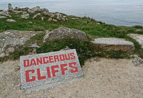 Dangerous, Cliffs, Danger, Sign, High, Peril, Warning
