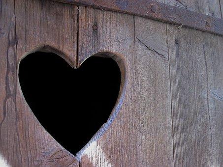 Heart, Wood, Door, Wooden Structure, Heart In The Wood