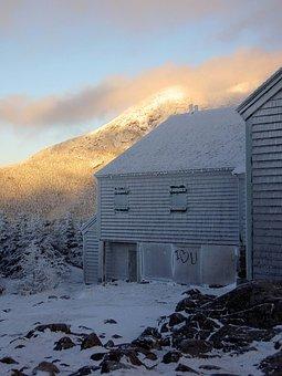 Winter, Icy, Frozen, Building, Snow, Mountain Hut
