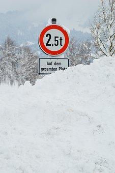 Street Sign, Winter, Snow, Shield, Hard, Weight, Tons