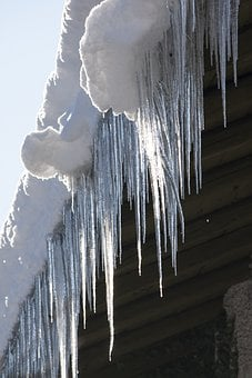 Ice, Icicle, Cold, Winter, Roof, Gutter, White, Frost