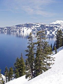 Crater, Lake, Oregon, Usa, Deep Blue, Landscape, Winter
