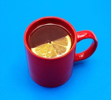 Tea, Lemon, Red Mug, Blue Background