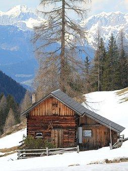 Alpine, Mountains, Snow, Building, Landscape, Wintry